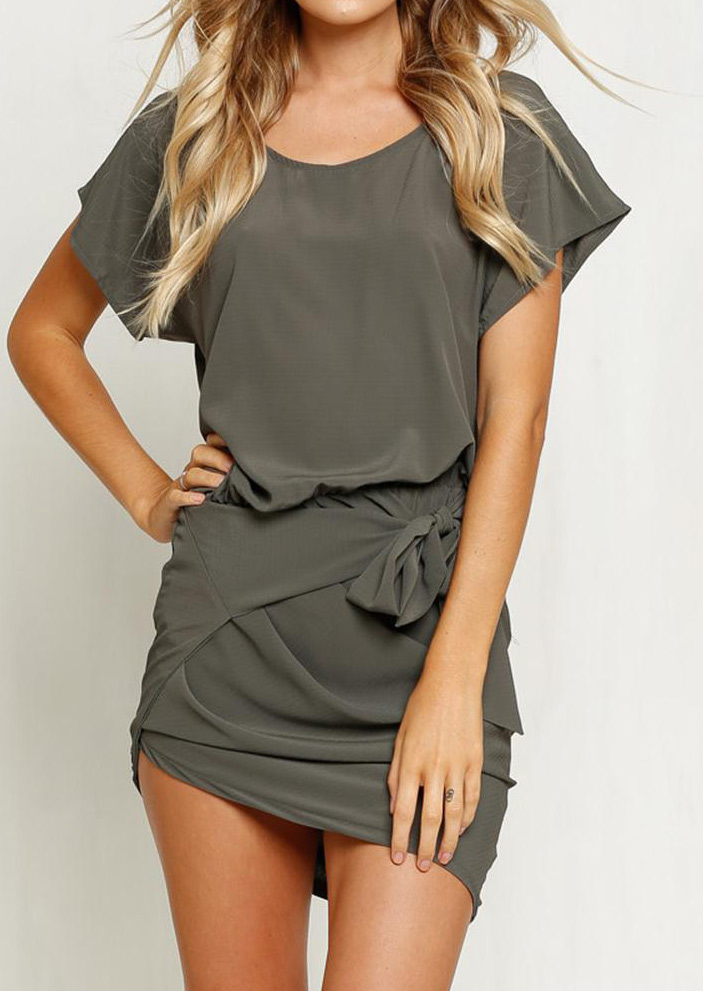 Solid Ruffled Knot Bodycon Mini Dress - Army Green