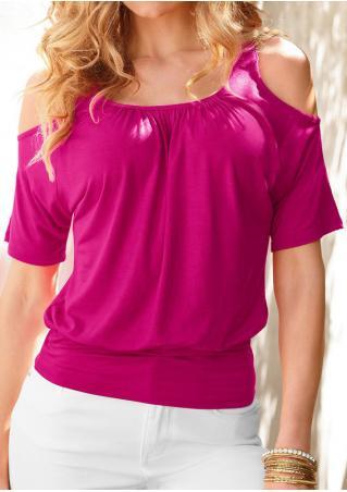 Solid Off Shoulder Short Sleeve Fashion Blouse