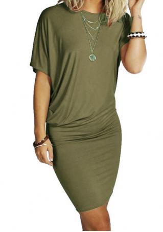 Solid Short Sleeve Casual Bodycon Mini Dress