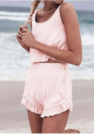 Solid Ruffled Sleeveless Crop Top Shorts Set