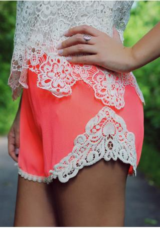 Lace Splicing Elastic Waist Casual Shorts