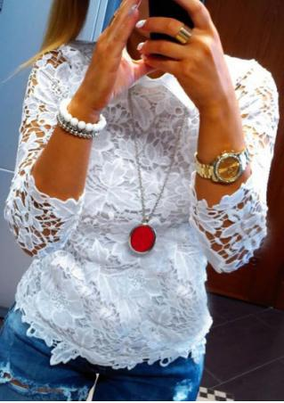 Solid Lace Hollow Out Fashion Blouse