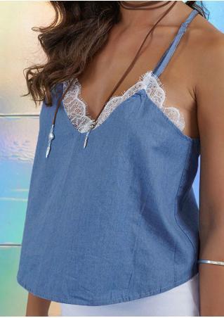 Lace Splicing V-Neck Fashion Camisole Lace