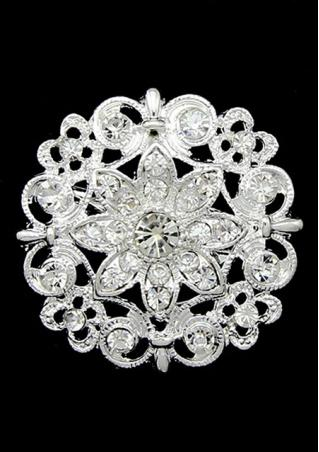 Flower Rhinestone Alloy Trendy Bridal Brooch Flower