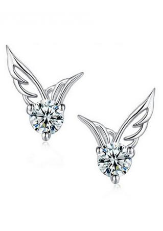 Rhinestone Alloy Angel Wings Ear Studs