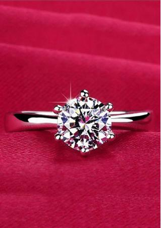 Rhinestone Zirconia Silver Plated Fashion Ring