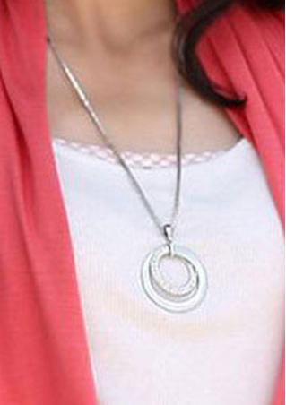 Rhinestone Alloy Long Chain Pendant Necklace