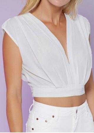Solid Zipper Deep V-Neck Fashion Crop Top