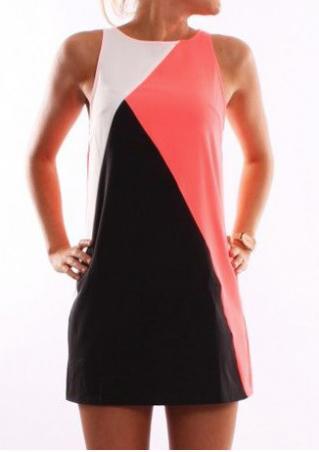 Color Block Stretchy Casual Mini Dress