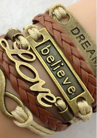 Leather Weave Alloy Multilayer Charm Bracelet