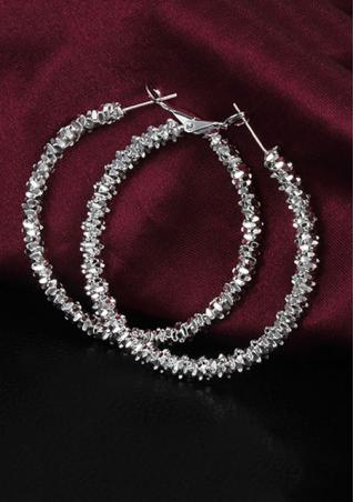 Silver Color Alloy Fashion Hoop Earrings
