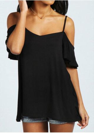 Solid Off Shoulder Petal Sleeve Fashion Blouse