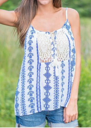 Printed Lace Splicing Chiffon Camisole