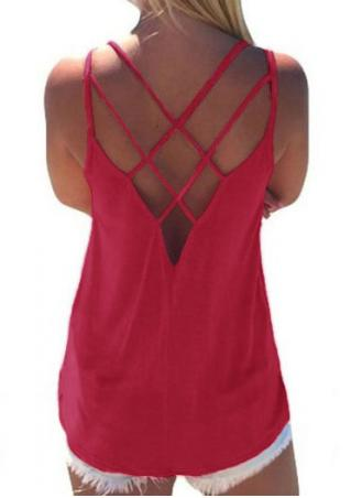 Solid Hollow Out Backless Stylish Camisole