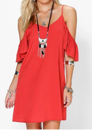 Solid Ruffled Off Shoulder Mini Strap Dress
