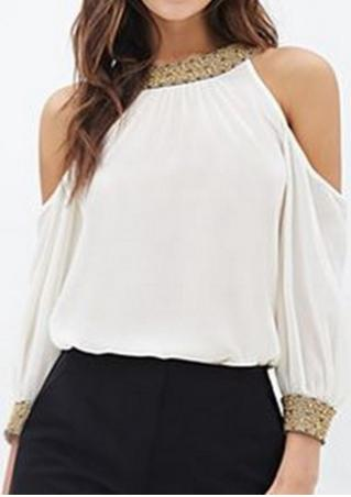 Sequined Splicing Off Shoulder Fashion Blouse