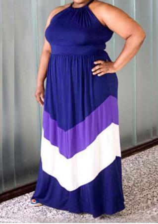 Color Block Plus Size Casual Maxi Dress Color