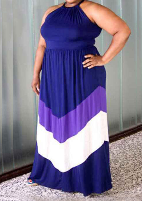 Color Block Plus Size Casual Maxi Dress - Fairyseason