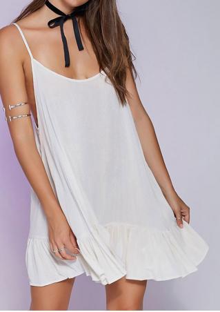 Solid Ruffled Backless Mini Strap Dress