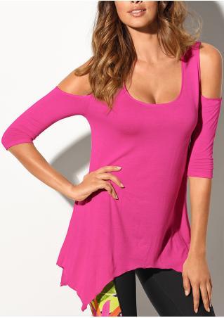 Solid Irregular Hem Off Shoulder Fashion Blouse