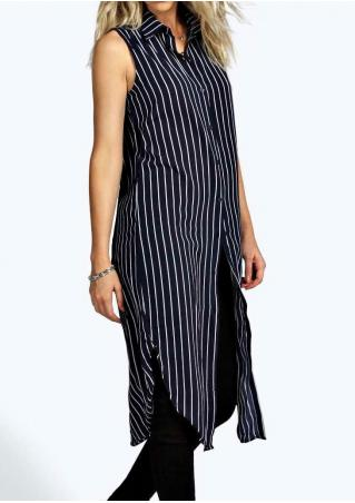Striped Button Sleeveless Casual Long Shirt