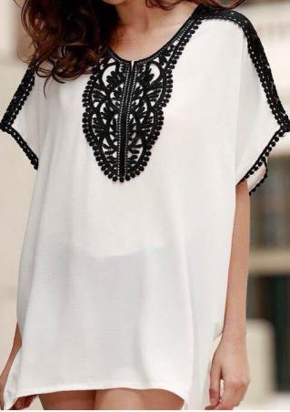 Lace Splicing Chiffon Fashion Blouse