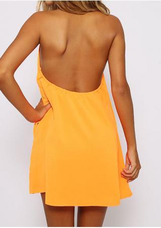 Solid Backless Mini Halter Dress