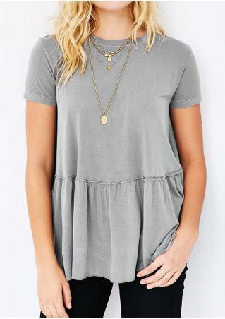 Solid Ruffled Short Sleeve Fashion Blouse