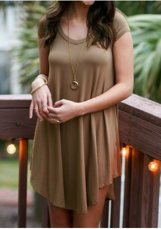Solid Short Sleeve Plus Size Casual Dress