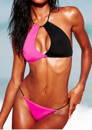 Color Block Beach Halter Bikini Set Color