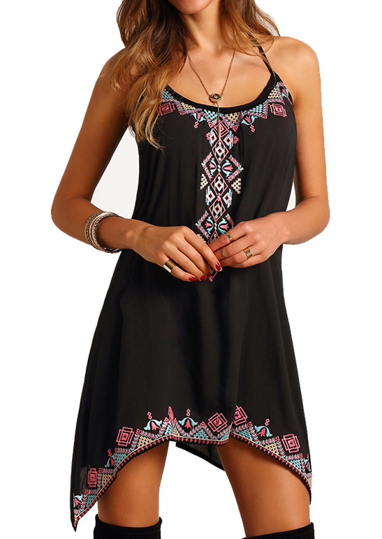 Printed Irregular Sexy Mini Dress without Necklace - Black