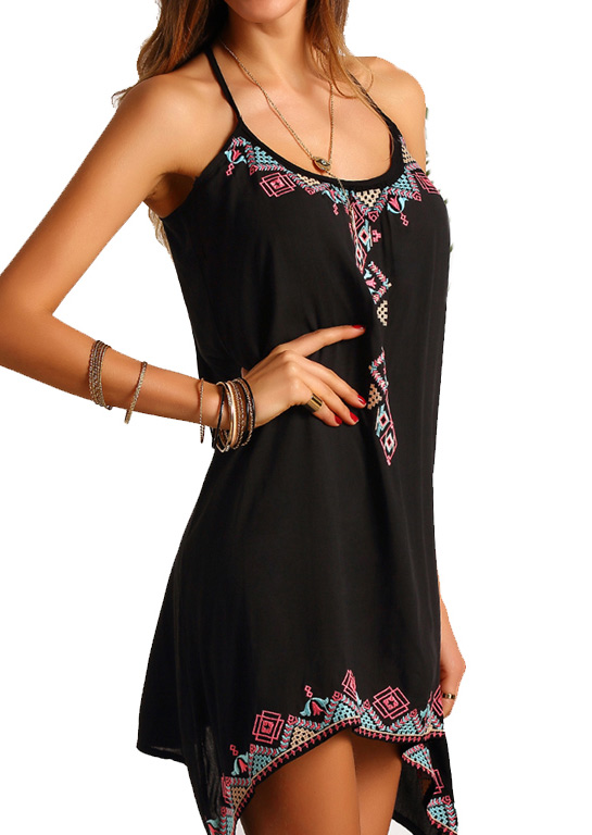 Mini Dresses Printed Irregular Mini Dress without Necklace in Black. Size: S,M,L,XL фото