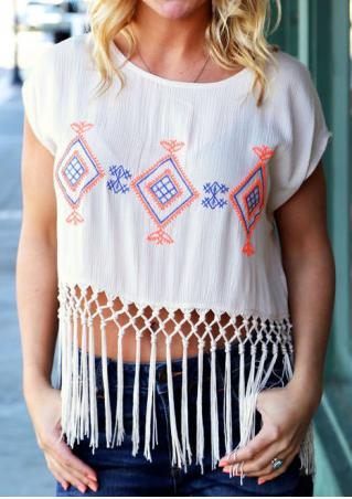 Tassel Splicing Embroidery Fashion Crop Top