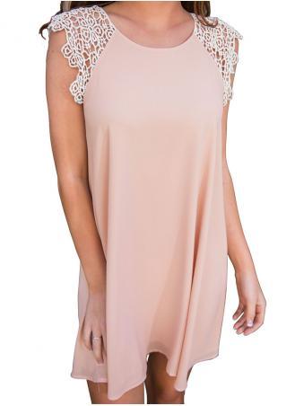 Lace Splicing Sleeveless Casual Mini Dress