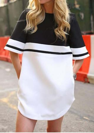 Color Block O-Neck Casual Mini Dress