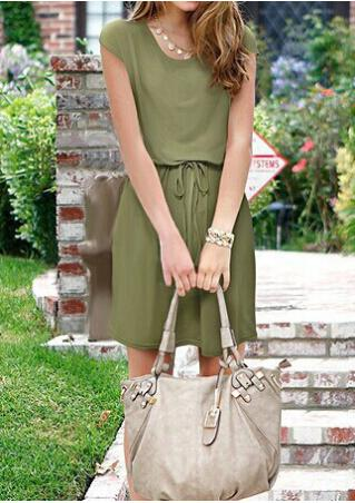 Solid Drawstring Short Sleeve Casual Dress