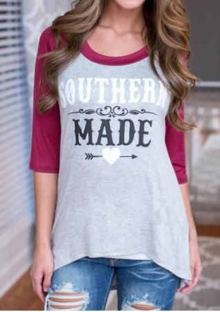 Letter Printed Color Block Casual Blouse