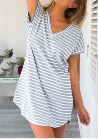 Striped Short Sleeve V-Neck Casual Dress