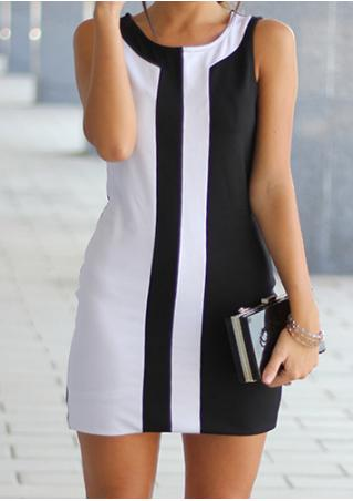 Color Block Sleeveless Casual Mini Dress