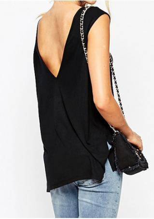 Solid Slit Backless Sleeveless Fashion Blouse