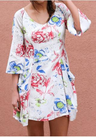Floral Pocket Three Quarter Sleeve Mini Dress