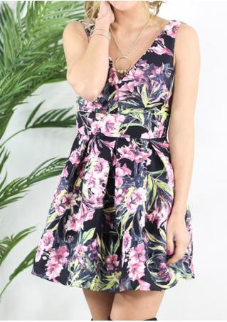 Floral Bowknot Ruffled Backless Sexy Dress