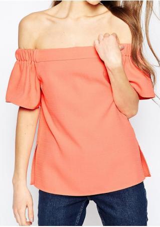 Solid Off Shoulder Slash Neck Fashion Blouse
