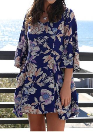 Floral Pocket Three Quarter Sleeve Casual Dress