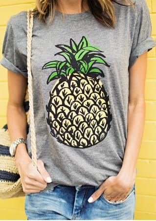 Pineapple Printed Short Sleeve Casual T-Shirt