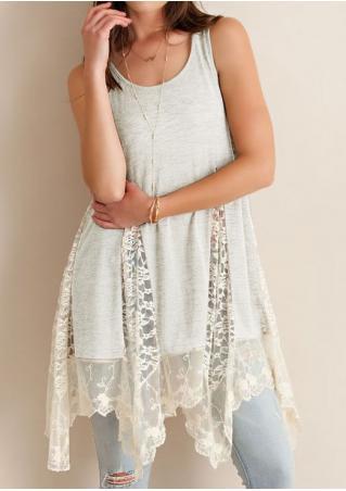 Lace Splicing Irregular Hem Fashion Tank
