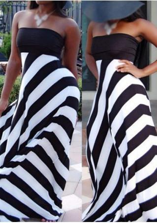 Striped Sexy Maxi Strapless Dress