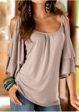 Solid Layered Ruffled Off Shoulder Fashion Blouse