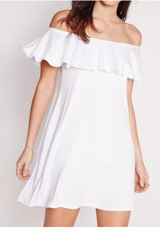 Solid Ruffled Off Shoulder Mini Dress