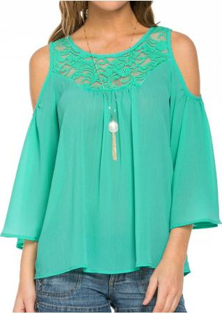 Solid Lace Ruffled Off Shoulder Fashion Blouse Solid